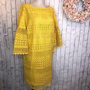 Lauren Ralph Lauren yellow gold crochet shift dres